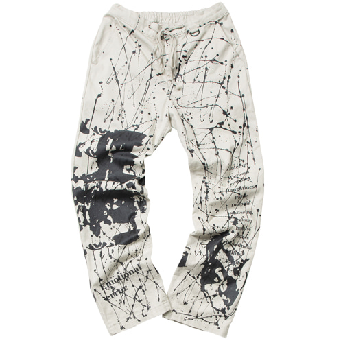 EMOTION ARTWORK PRINTING PANTS BEIGE