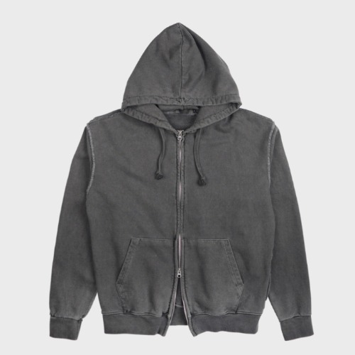 GARMENT DYED HOOD ZIP-UP CHARCOAL