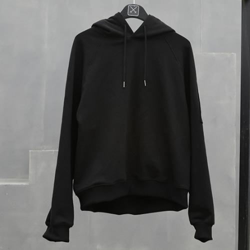 OVERSIZED POCKET HOOD T-SHIRT BLACK