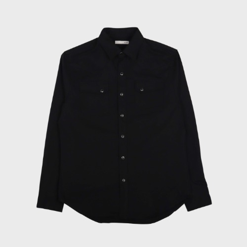 PANEL DENIM WESTERN SHIRT BLACK