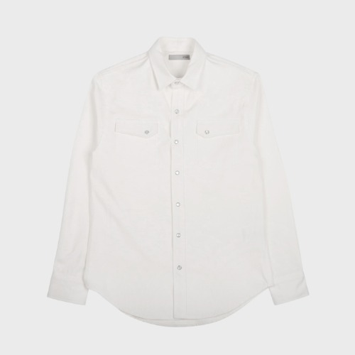 PANEL DENIM WESTERN SHIRT WHITE