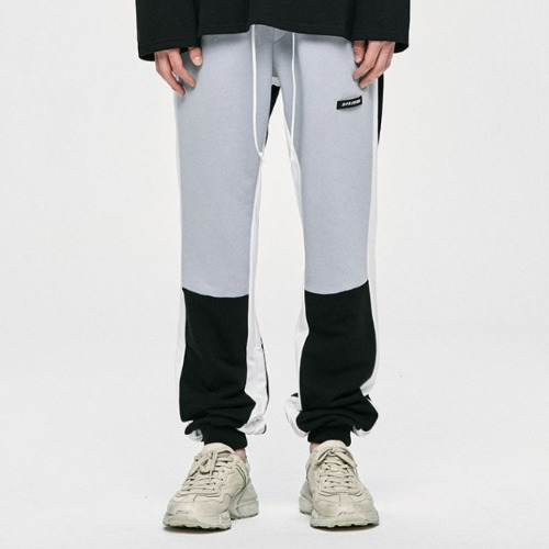 ZIPPER TRACK PANTS-LIGHT GREY/BLACK