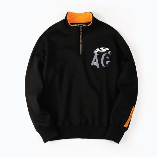 QUARTER ZIP UP PULLOVER BLACK
