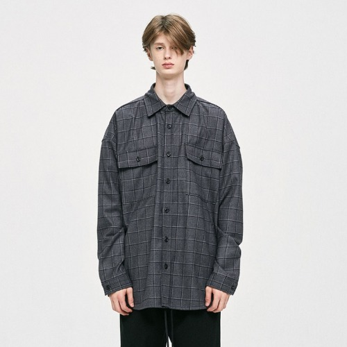OVERSIZED CHECK SHIRT - GREY