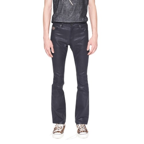 BLACK COATED BOOT CUT JEAN
