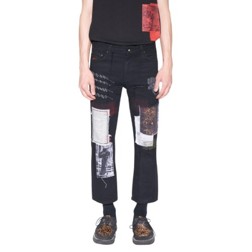 PATCH WORK CROPPED JEANS