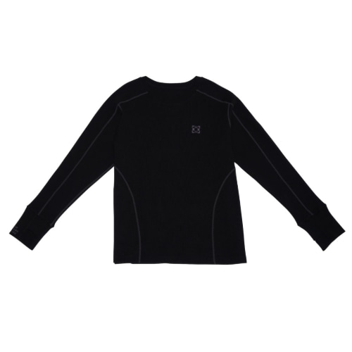 Waffle Jersey Top Black