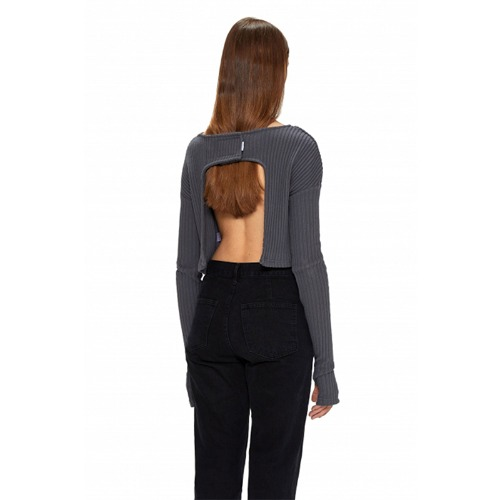 GREY BACK OPEN VELCRO BLOUSE