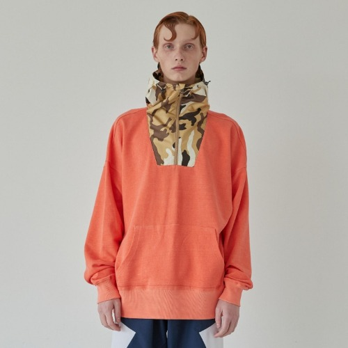 CORAL PIGMENT WOVEN HOODIE