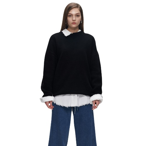 HALF AND HALF CREWNECK KNIT JUMPER
