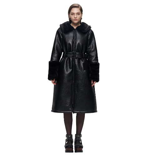 ARTIFICIAL LEATHER FOXY COAT