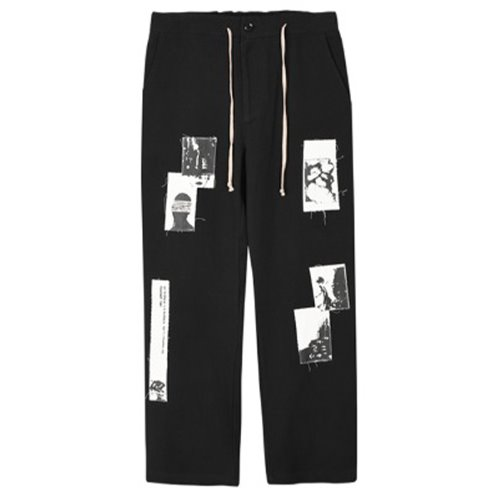 PATCH WORK PANTS BLACK