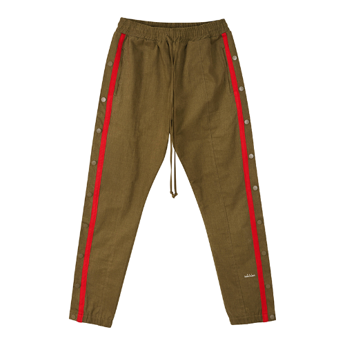 Canvas side snap button pants - Khaki