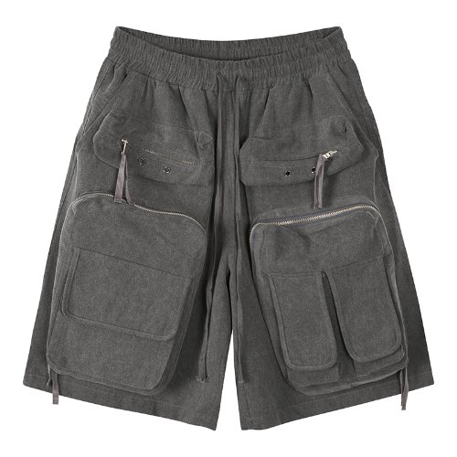 Dobby weaves 3D pocket cargo shorts - Pigment Charcoal Gray