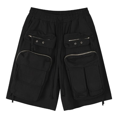 Dobby weaves 3D pocket cargo shorts - Black