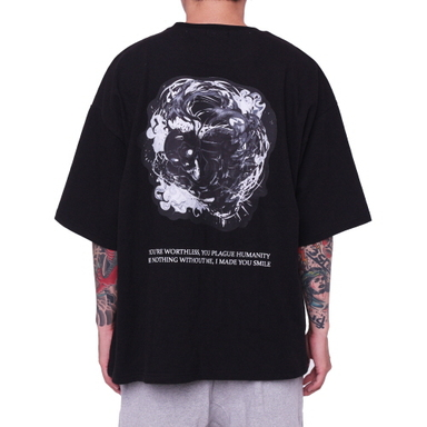 [FADE6] SKULL GHOST BOXY T-SHIRT BLACK