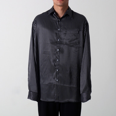 [COUPDEGRACE] BLACK STRIPE OVERSIZED SHIRT