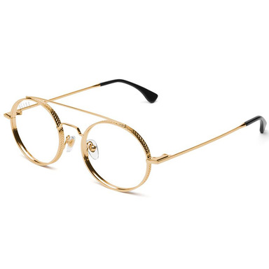 [9FIVE] 50-50 24K GOLD ROUND CLEAR LENS GLASSES