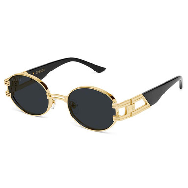 [9FIVE] ST. JAMES BLACK & 24K GOLD SUNGLASSES (PURE POLARIZED)