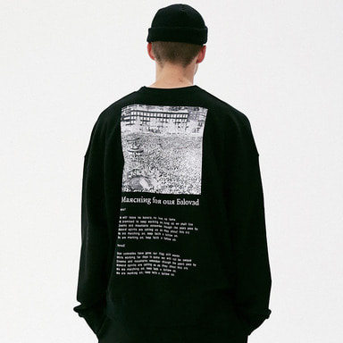 [MASSNOUN] MOVEMENT OVERSIZED CREWNECK MFVCR002-BK