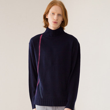 [IDIOTS] LINE HIGH NECK KNIT NAVY