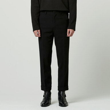 [NOVELLA] WOOL CABRA CROP TROUSER BLACK
