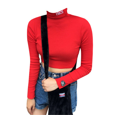 [YOUNG BITCHES] YBCS NEEDLEWORK KNIT CROP TOP (RED)