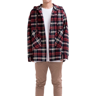 [RCNP] FLANNEL HOODIE SHIRT (RED)