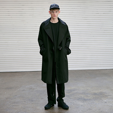 [4/6 예약발송] [MASSNOUN] D OVERSIZED RAGLAN TRENCH COAT MSECT001-BK
