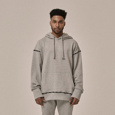 [OVERR] 18SS LOGO TAPING GRAY HOODIE
