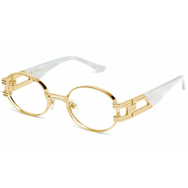 [30% PRE-ORDER SALE 5/11~5/28 예약판매] [9FIVE] ST. JAMES MARBLE CROC & 24K GOLD CLEAR LENS GLASSES