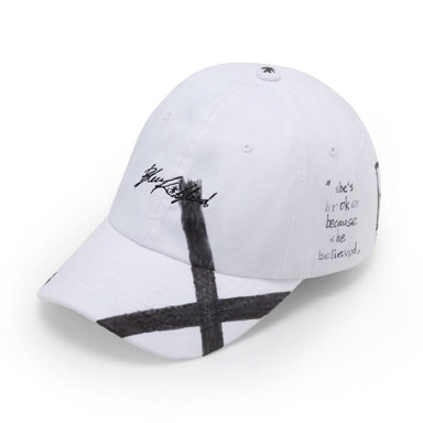 [BLACKBLOND] BBD SCRIPT LOGO CAP FEATHER GRAFFITI VER.(WHITE)