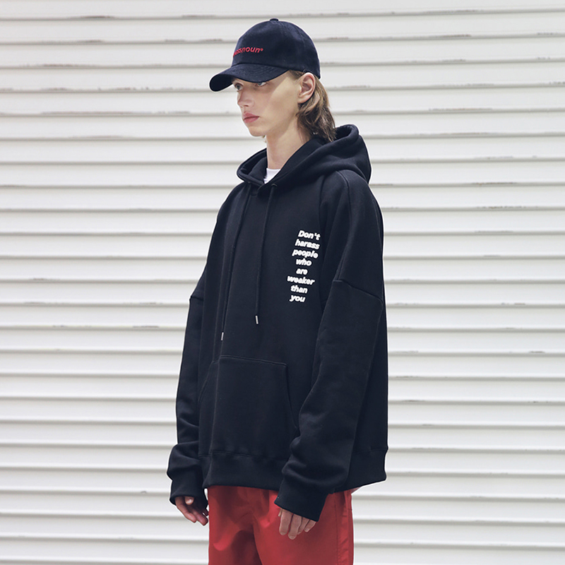 [MASSNOUN] HARSSMENT OVER-FIT HOODIE MFEHD002-BK