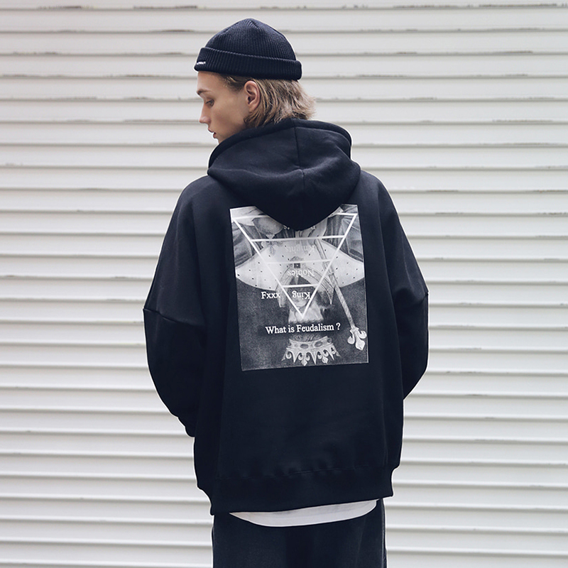 [MASSNOUN] FEUDALISM OVER-FIT HOODIE MFEHD001-BK